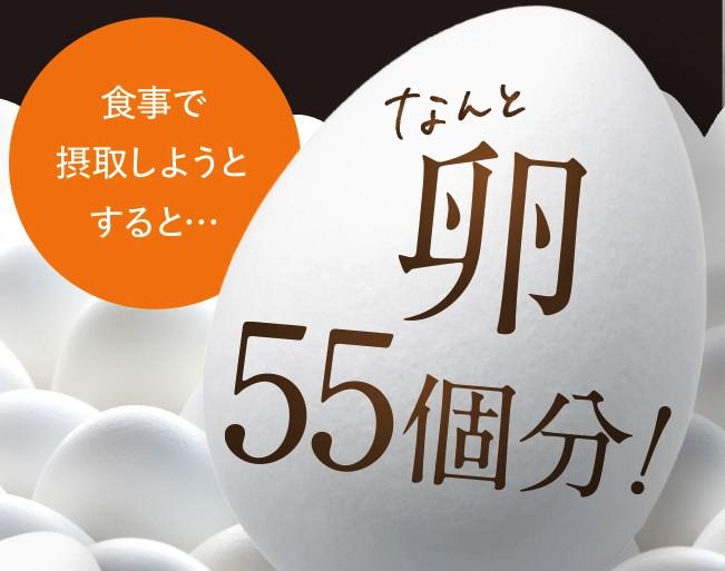 """「HMB」を""""食事""""で摂取しようとすると、なんと卵55個分も必要"""