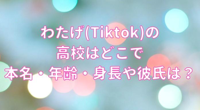 わたげ(Tiktok)の高校はどこで本名・年齢・身長や彼氏の記事のアイキャッチ画像